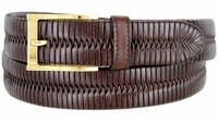 "BL040 Polished Gold Plated Buckle Center Weaved Genuine Leather Dress Belt 1-1/4"" - BROWN"