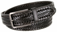 "BL041 Directional Basketweave Woven Genuine Dress Leather Belt - 1-3/8"" Wide - Black"