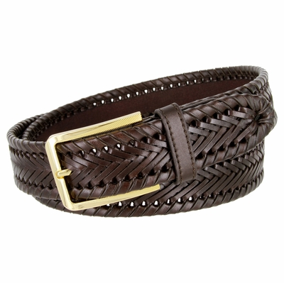 "BL041 Directional Basketweave Woven Genuine Dress Leather Belt - 1-3/8"" Wide - Brown"