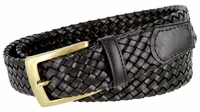 "BL043 Antiqued Brass Buckle Basketweaved Woven Genuine Leather Dress Belt 1-1/4"" - BLACK"
