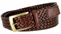 "BL043 Antiqued Brass Buckle Basketweaved Woven Genuine Leather Dress Belt 1-1/4"" - BROWN"