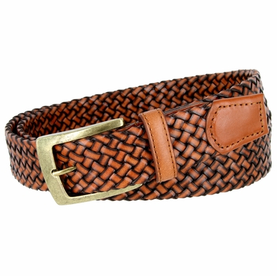 "BL043 Antiqued Brass Buckle Basketweaved Woven Genuine Leather Dress Belt 1-1/4"" - TAN"