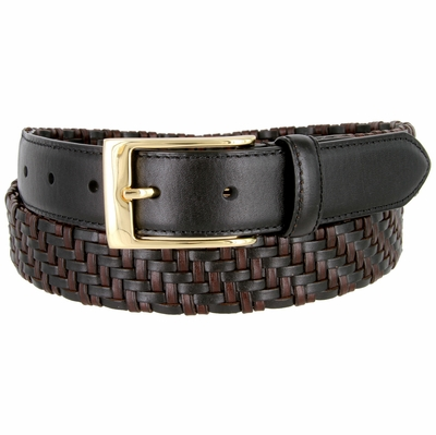 "BL044 Gold Plated Buckle Braided Knitted Genuine Leather Casual Dress Belt 1-1/4"" Wide - BLACK"