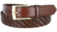 "BL044 Gold Plated Buckle Braided Knitted Genuine Leather Casual Dress Belt 1-1/4"" Wide - BROWN"
