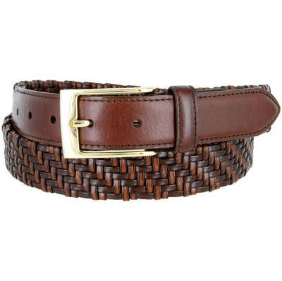 """BL044 Gold Plated Buckle Braided Knitted Genuine Leather Casual Dress Belt 1-1/4"""" Wide - BROWN"""