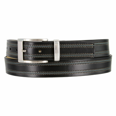 Black Double Contrast Stitched Casual Dress Leather Belt