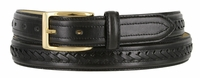 "Black Hand Laced Leather Dress Belt 1-1/8"" Wide"
