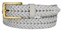 Braided Full Leather Dress Belt with Gold Buckle - White