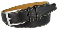 "BS111 Classic Genuine Leather Office Career Dress Belt - 1 3/8"" wide - BLACK"