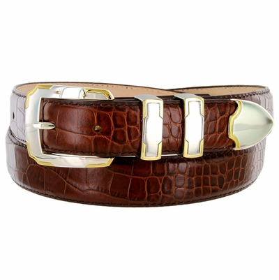 BS01383 Alligator Embossed Genuine Italian Leather Dress Golf Belt - Brown