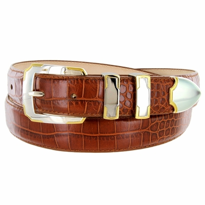 BS01383 Alligator Embossed Genuine Italian Leather Dress Golf Belt - Cognac