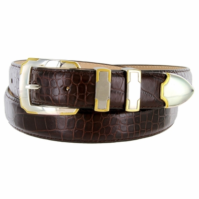 BS01383 Alligator Embossed Genuine Italian Leather Dress Golf Belt - Wine