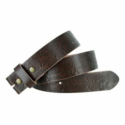 "BS036 Western Floral Engraved Tooling Full Grain Leather Belt Strap - 1 1/2"" BROWN"