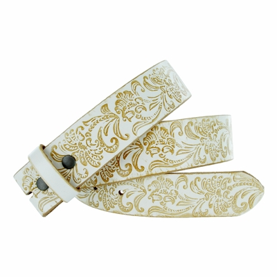 """BS036 Western Floral Engraved Tooling Full Grain Leather Belt Strap - 1 1/2"""" WHITE"""