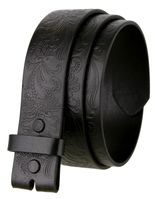 "BS036 Western Floral Engraved Tooling Full Grain Leather Belt Strap - 1 1/2"" wide BLACK"