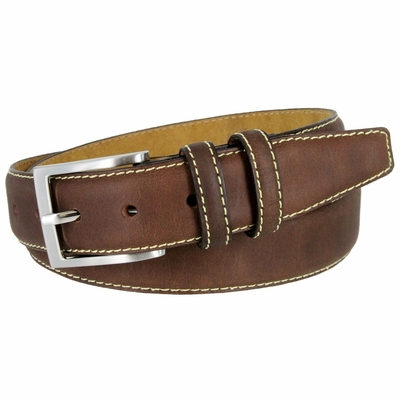 "BS111 Classic Genuine Leather Office Career Dress Belt - 1 3/8"" wide - BROWN"