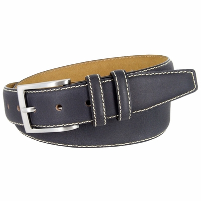 "BS111 Classic Genuine Leather Office Career Dress Belt - 1 3/8"" wide -DARK NAVY"