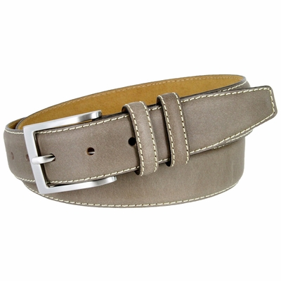 """BS111 Classic Genuine Leather Office Career Dress Belt - 1 3/8"""" wide - GRAY"""