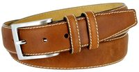 "BS111 Classic Genuine Leather Office Career Dress Belt - 1 3/8"" wide - TAN"