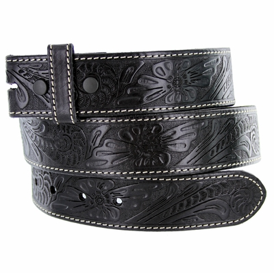 "5118 Western Floral Engraved Tooled Leather Belt Strap 1-1/2"" - BLACK"