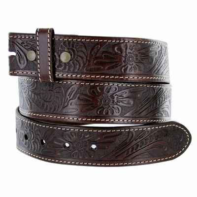"5118 Western Floral Engraved Tooled Leather Belt Strap 1-1/2"" - BROWN"