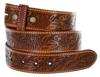 "5118 Western Floral Engraved Tooled Leather Belt Strap 1-1/2"" - TAN"