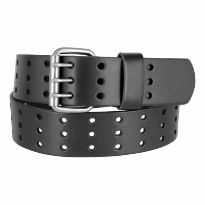 "BS200 Holes Genuine Leather Casual Jean Belt - Black 1-3/4"" wide"