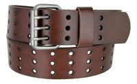 "BS200 Holes Genuine Leather Casual Jean Belt - Brown 1-3/4"" wide"