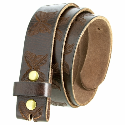 """6670 Butterfly Tooled Casual Full Grain Leather Belt Strap 1-1/2"""" Wide"""
