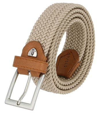 """C019/30 Italian Stretch Belt With Leather Tabs 1-1/8"""" Wide Made in Italy - Beige"""