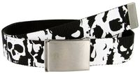 BF51396 Canvas Military Web Punk Belt 1.5 inch wide Black White Skull