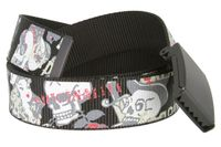 BF51664 Canvas Military Web Punk Belt Black With Bottle Opener Metal Buckle 1.5 inch wide