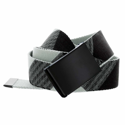 BF1207602 Canvas Military Web Style Belt Black Metal Buckle - Gray/Black