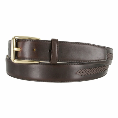 Cordovan Smooth Leather Belt with Matching Overlapped