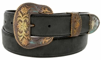 "Cowboy Western Antique Buckle Edge Stitch Leather Belt - 1 1/2"" Wide"