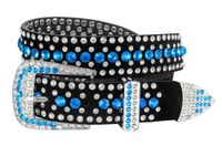 "51006 Women's Rhinestones Studded Leather fashion Belt 1-1/4"" Wide - Light Blue"