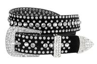 "51006 Women's Rhinestones Studded Leather fashion Belt 1-1/4"" Wide - Crystal"