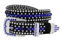 "51006 Women's Rhinestones Studded Leather fashion Belt 1-1/4"" Wide - Dark Blue"