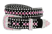 "51006 Rhinestones Studded Western Fashion Belt 1-1/4"" Wide - Pink"