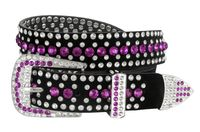 "51006 Women's Rhinestones Studded Leather fashion Belt 1-1/4"" Wide - Purple"
