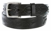 "Eagle Embossed Braided Genuine Leather Casual Belt - 1 1/2"" BLACK"