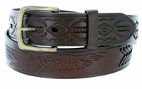 "10222  Eagle Embossed Braided Genuine Leather Casual Belt - 1 1/2"" wide BROWN"