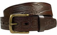 """10222  Eagle Embossed Braided Genuine Leather Casual Belt - 1 1/2"""" wide BROWN"""