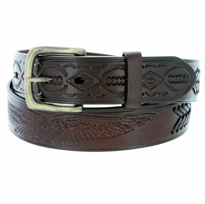 "Eagle Embossed Braided Genuine Leather Casual Belt - 1 1/2"" wide BROWN"