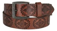 "5803 Earth's Vintage Casual Full Grain Leather Jean Belt 1-1/2"" wide - Brown"