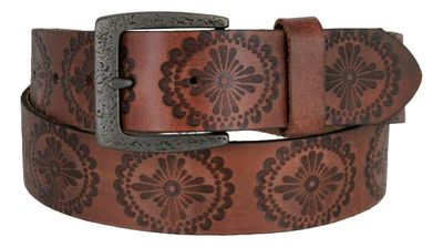 "Earth's Vintage Casual Full Grain Leather Jean Belt 1-1/2"" wide - Brown"