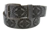 "5803 Earth's Vintage Casual Full Grain Leather Jean Belt 1-1/2"" wide - Gray"