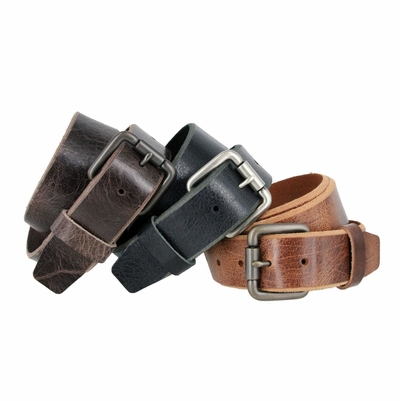 "Full Grain Vintage Leather Belt with Roller Buckle - 1 1/2"" wide"