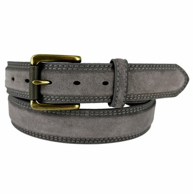 "FULLERTON Suede Roller Brass Buckle Full Grain Leather Belt - 1 3/8"" wide GRAY"