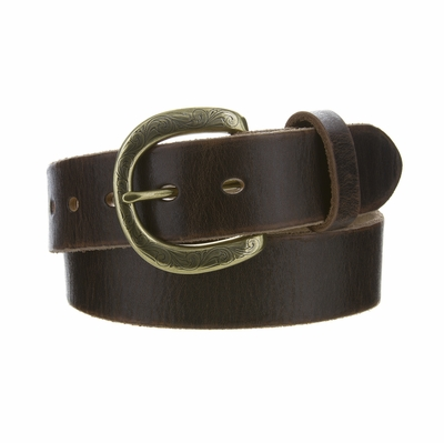 "4408 Fullerton Women's Brown Vintage Casual Genuine Full Grain Leather Belt  - 1 1/2"" wide - Brass Buckle"